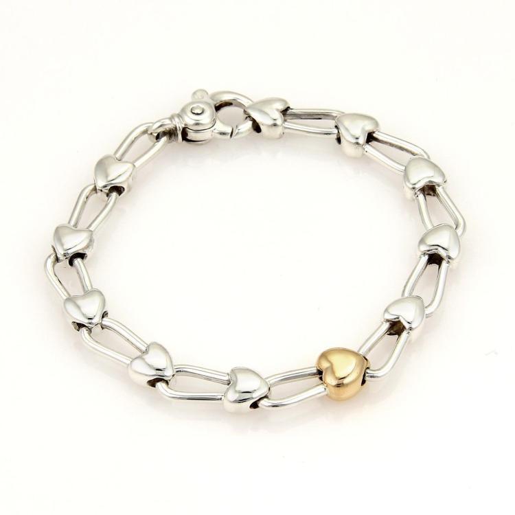 Tiffany & Co. Vintage 18k Rose Gold 925 Silver Padlock Heart Link Bracelet