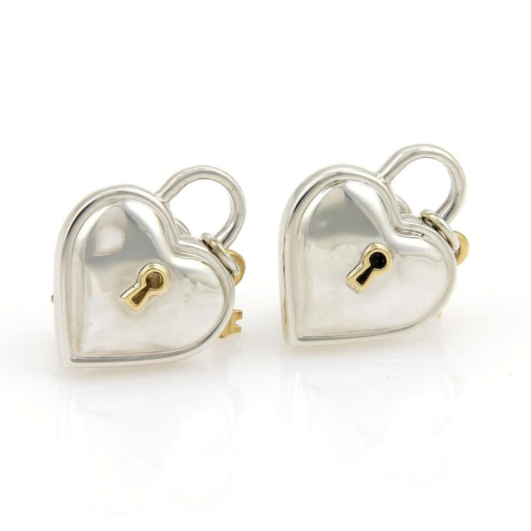 Tiffany & Co. Heart Padlock Key Charm 925 Silver 18k Yellow Gold Earrings