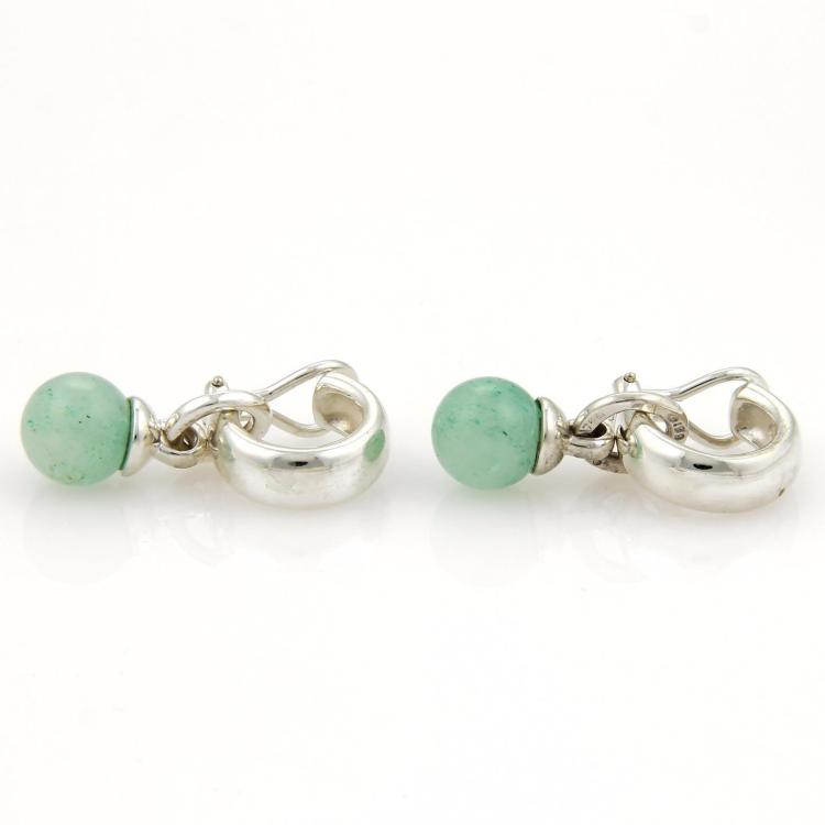 Tiffany & Co. Vintage 10mm Green Aventurine Gems Sterling Silver Drop Earrings