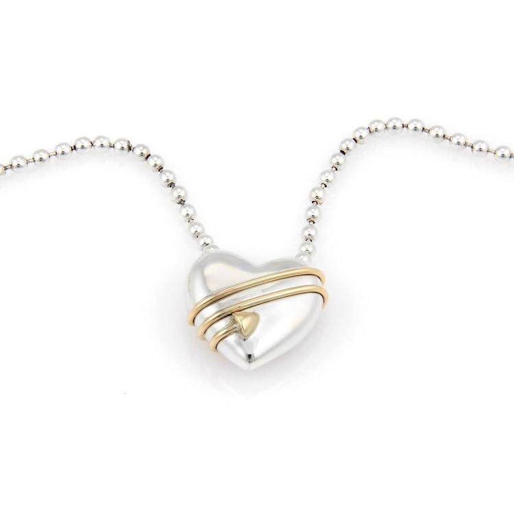 Tiffany & Co. Sterling Silver & 18K YG  2 Tone Cupid Heart Pendant Necklace