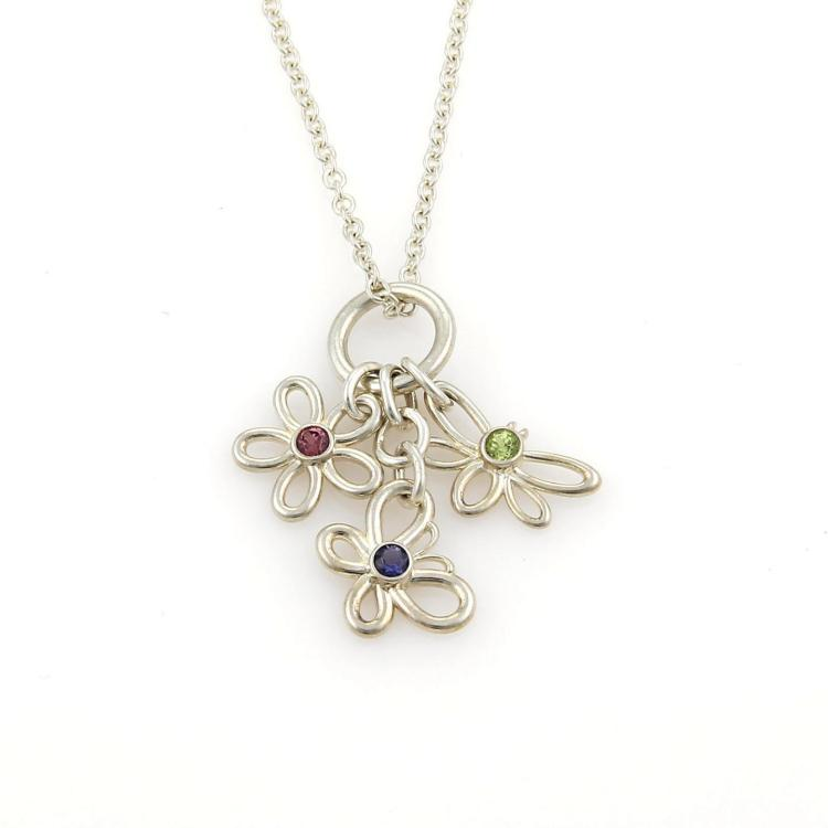 Tiffany & Co. Multi-Color Gems Three Charm Pendant Sterling Silver Necklace