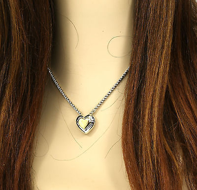 DESIGNER TIFFANY & CO. STERLING SILVER & 18K YELLOW GOLD HEART PENDANT W/ CHAIN