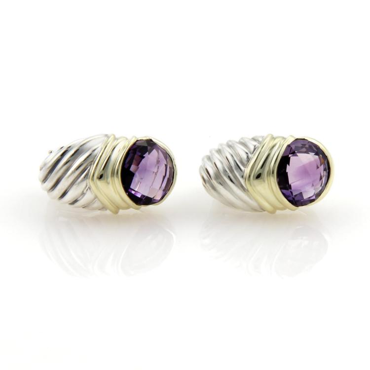 David Yurman 6ct Amethyst 925 Silver 14k Yellow Gold Shrimp Earrings