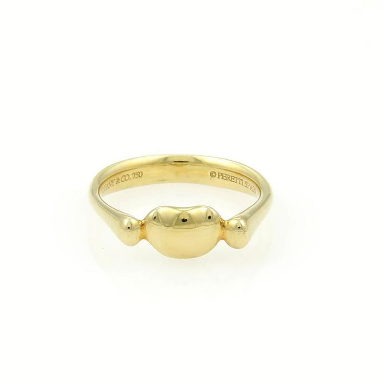 Tiffany & Co. Elsa Peretti 18k Yellow Gold Mini Bean Ring Size 5