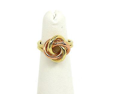 STYLISH VINTAGE RETRO TWO TONE 14K GOLD TWIST DESIGN LADIES RING