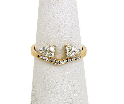 Lovely 14k Yellow Gold & Diamond Ladies Solitaire Guard Ring