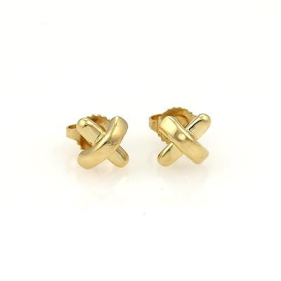 Tiffany & Co. Cross Stitch 18k Yellow Gold Stud Earrings