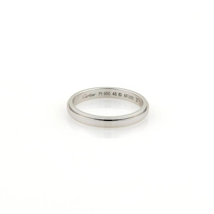 Cartier Platinum 2.5mm Grooved Wedding Band Ring Size EU 48-US 4.5