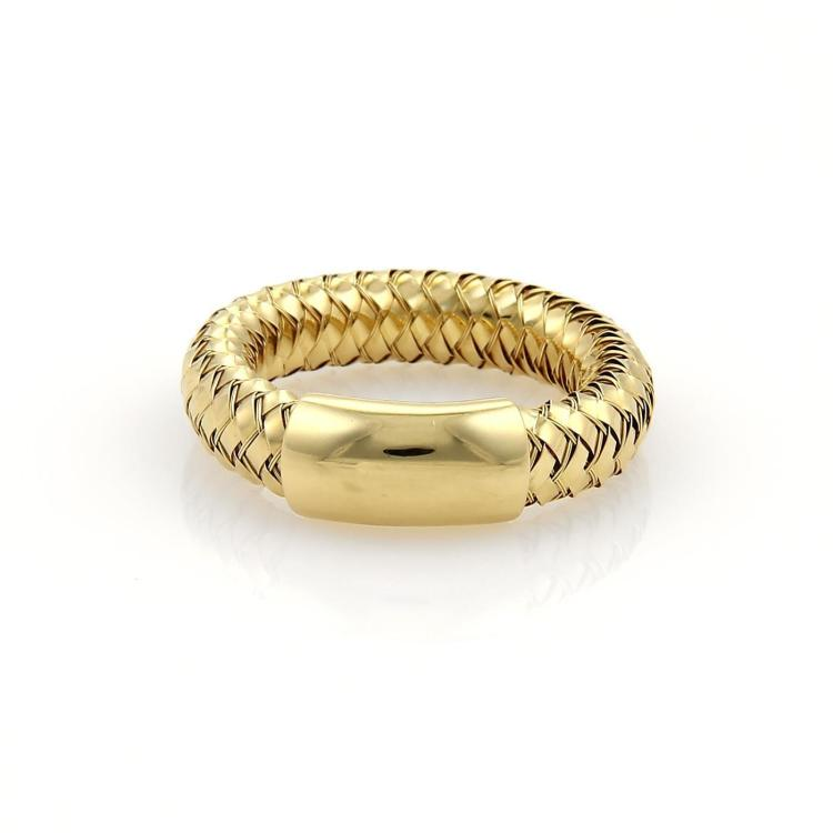 Roberto Coin PRIMAVERA 18k Yellow Gold Basket Weave Band Ring Size 7