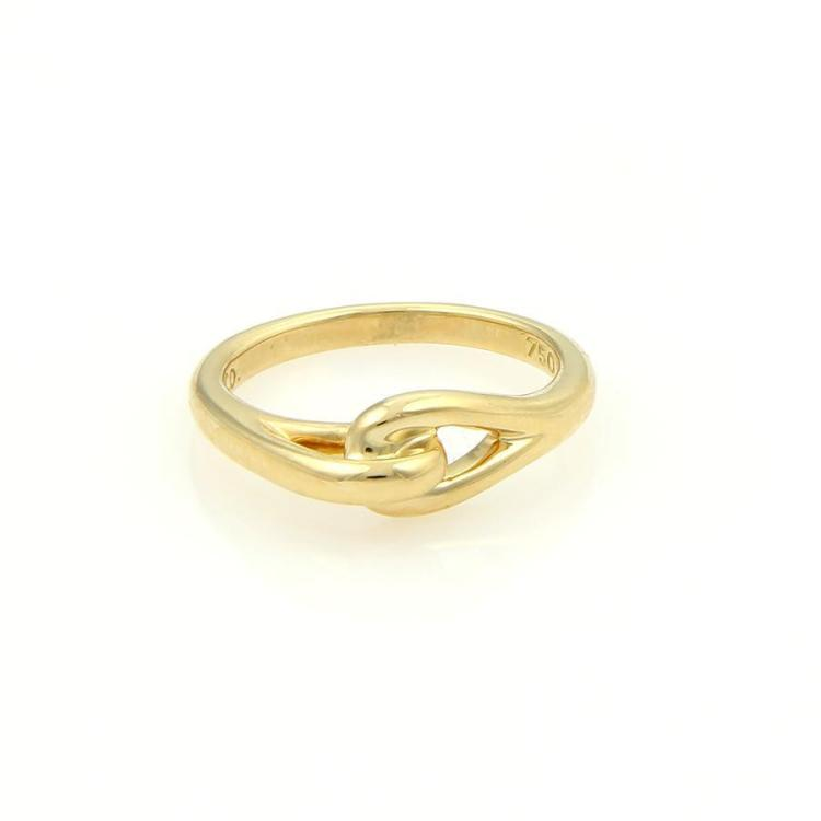Tiffany & Co. Vintage 18k Yellow Gold Interlock Design Ring