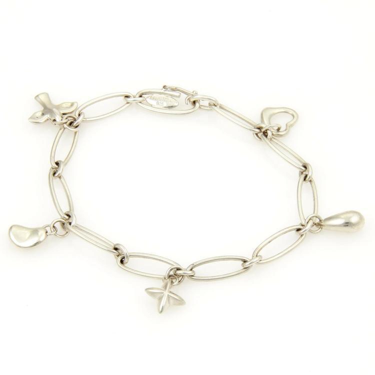 Tiffany & Co. 925 Sterling Silver 5 Charms Oval Link Bracelet