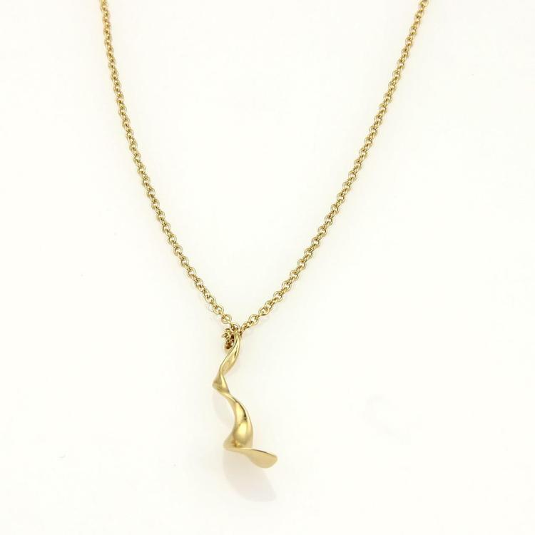 Tiffany & Co. Frank Gehry Orchid Drop Pendant 18k Yellow Gold Necklace