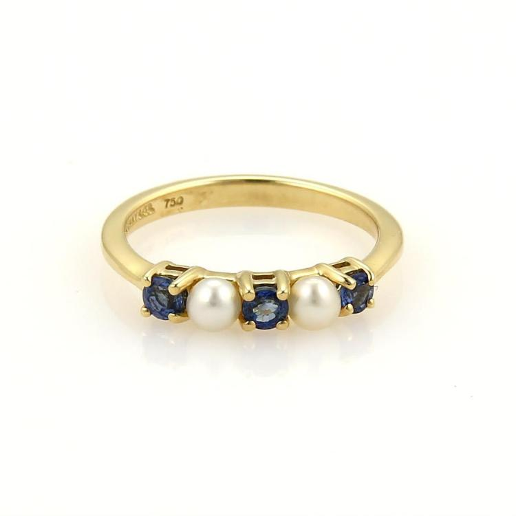 Tiffany & Co. 18K Yellow Gold Prong Set Sapphire & Seed Pearls Band Ring