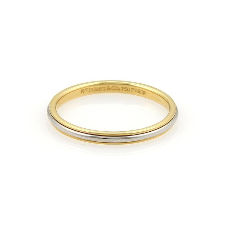 Tiffany & Co. Platinum 18k Yellow Gold 2mm Wide Wedding Band Ring Size 7