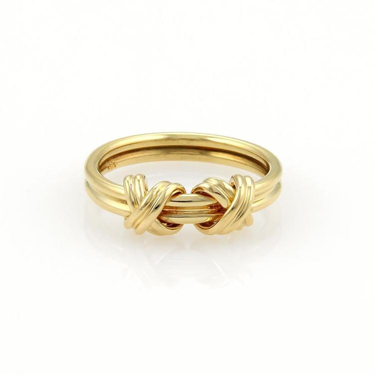 Tiffany & Co. 18k Yellow Gold Double X Crossover Band Ring Size 3.75