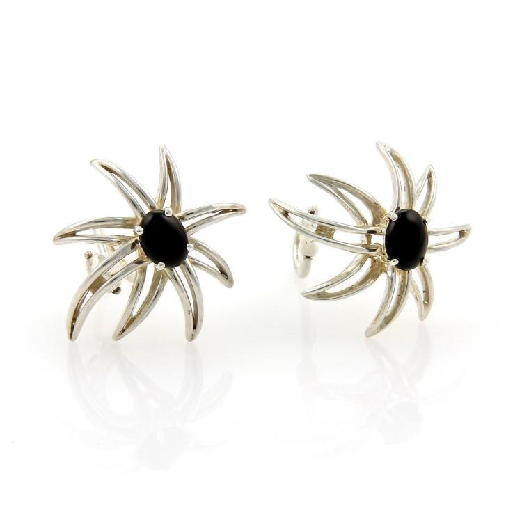 Tiffany & Co. Fire Works Onyx & Sterling Silver Clip On Earrings