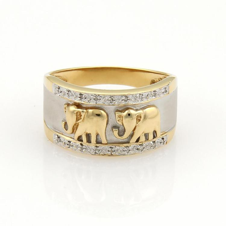 Estate Diamonds & 14k Two Tone Gold Elephant Textured Band Ring