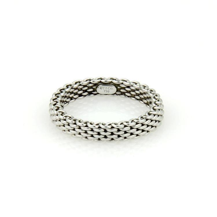 Tiffany & Co. Somerset 18k White Gold Mesh Design 3.5mm Band/Ring Size 6