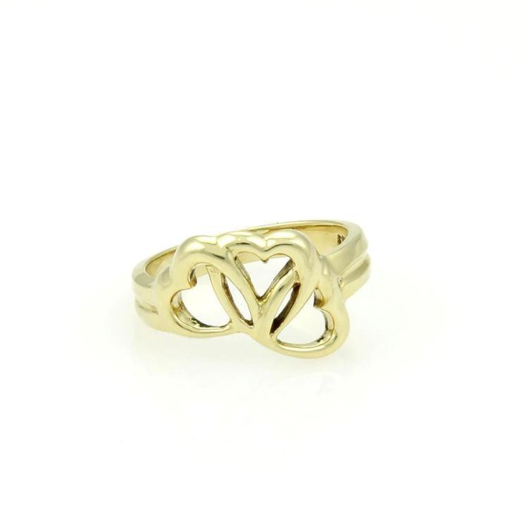 Tiffany & Co. 18k Yellow Gold Three Interlocking Hearts Ring