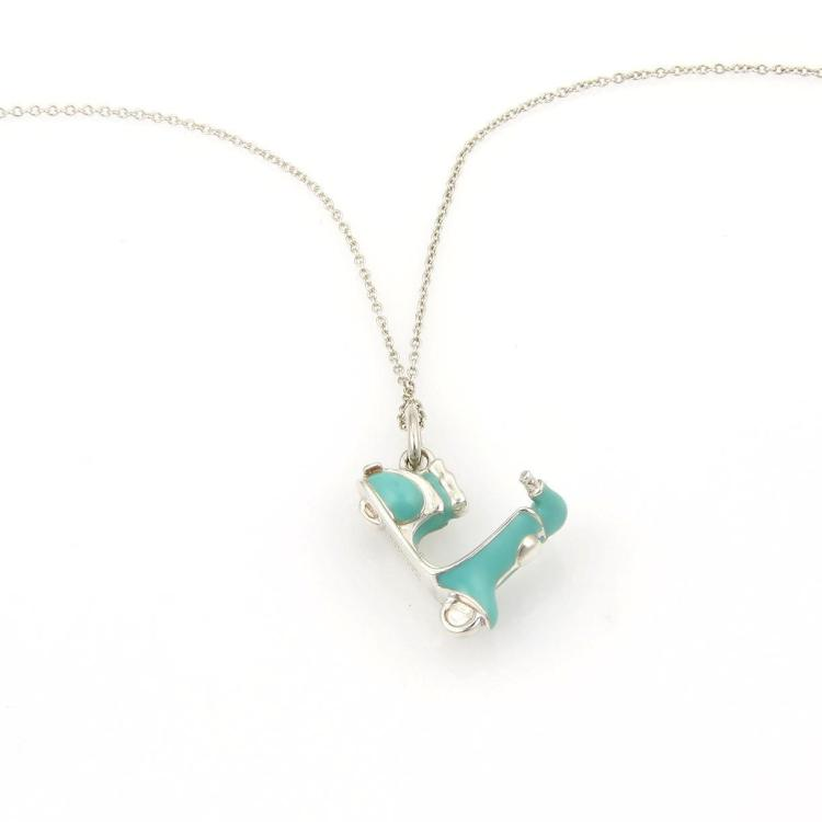 Tiffany & Co. Vintage 925 Silver Enamel Scooter Pendant & Chain Italy