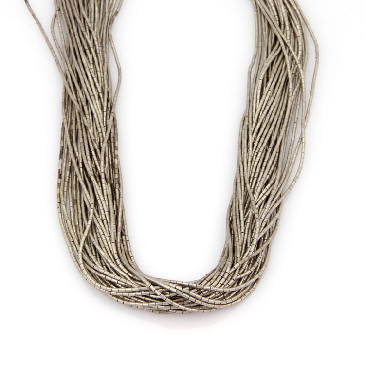 Vintage Estate Sterling Silver 30 Strand Bone Link Long Necklace