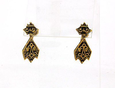 Antique 14k Yellow Gold Deep Carved Fancy Design Ladies Drop Dangle Earrings