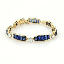 Estate 18k YGold Platinum 17.70ct Diamonds & Sapphire Curved Bar Link Bracelet