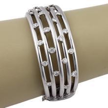 Estate 18K White Gold Italian 5 Row 1.70ct Diamond Bangle Bracelet