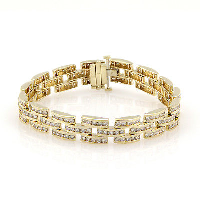 Estate 14K Yellow Gold Channel Set 8 Carat Diamond Panther Style Link Bracelet