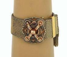 Antique Victorian 14k Yellow & Rose Gold Wide Tassel Fancy Design Woven Bracelet