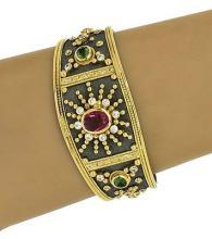 Designer Dovris 18kt Two Tone Gold 7ctw Diamond & Gemstone Wide Cuff Bracelet