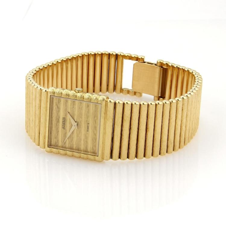 Juvenia 18k Yellow Gold Men's Quartz Square Face Wrist Watch 81 Grams