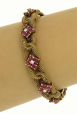 Vintage 18k Yellow Gold 8.45ctw Diamond & Rubies Floral Fancy Link Bracelet