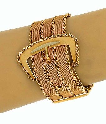 Vintage Retro 18kt Yellow & Rose Gold Rope Design Woven Wide Buckle Bracelet