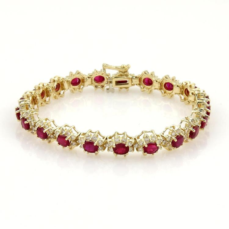 Estate 14K Yellow Gold 13.4 Ct Diamond & Ruby Tennis Bracelet