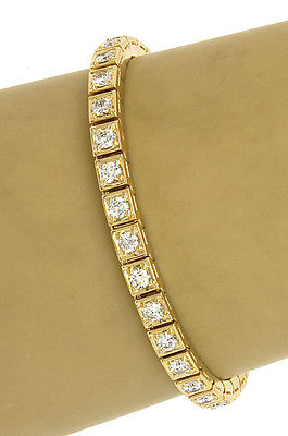 Estate 18k Yellow Gold 5ctw Round Cut Diamond Ladies Tennis Bracelet 6.75