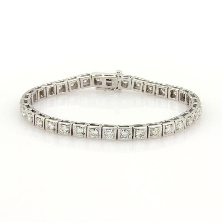 Stunning 5.00ct Round Cut Diamonds 14k White Gold Box Link Tennis Bracelet