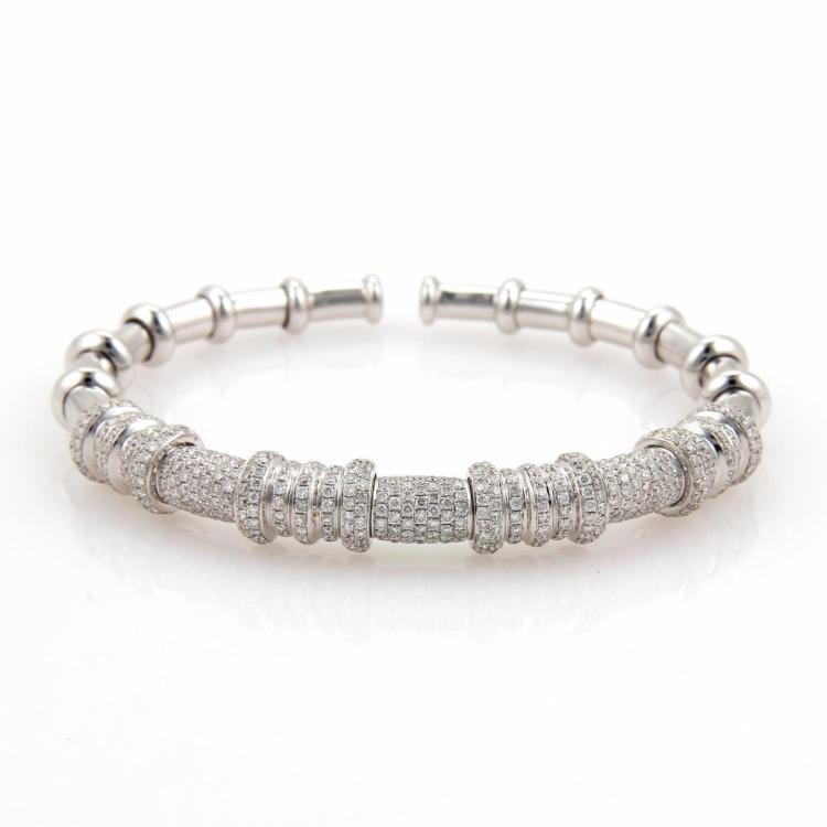 18k White Gold 3ct Pave Diamonds Fancy Open Flex Bangle Bracelet