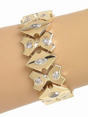 Antique Vintage 14k Yellow Gold 2ctw Diamond Wide Geometric Link Bracelet