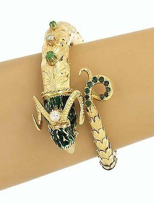 Vintage 18k Y/Gold 1.05ctw Diamond Emerald & Enamel Rams Head Bypass Flex Bangle