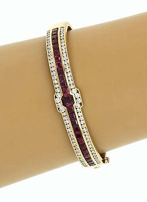 Magnificent 14k Yellow Gold 6ctw Diamond & Ruby Bangle Bracelet