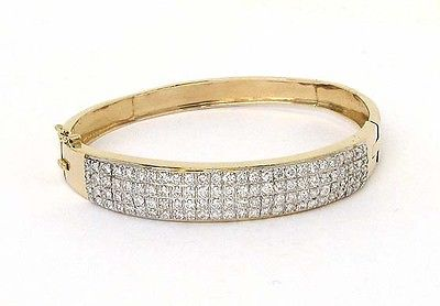 Vintage 14k Yellow Gold 4.5ctw Round Cut Diamond Bangle Bracelet