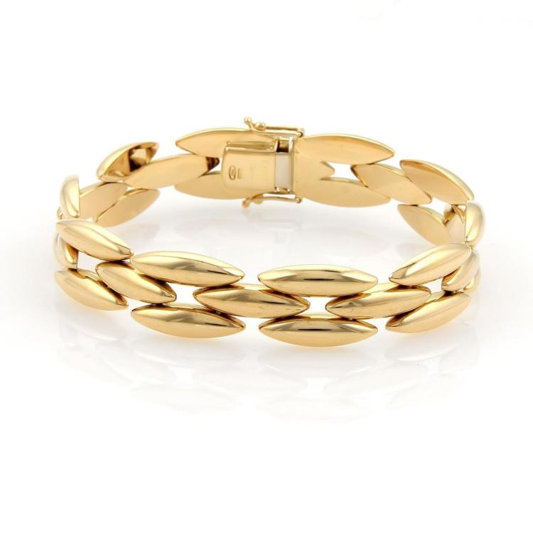 Cartier 18k Yellow Gold 3 Row Gentiane Rice Link Bracelet