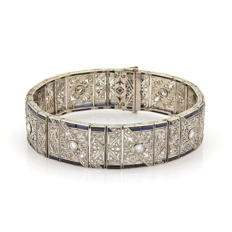 Art Deco 8ct Diamond & Sapphires 18k White Gold Filigree 17mm Wide Bracelet