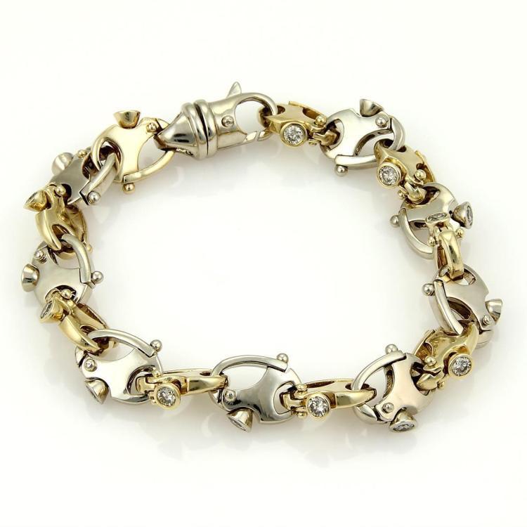 Impressive 14kTwo Tone Gold & 2.50ct Diamonds Open Fancy Oval Link Bracelet 66gr