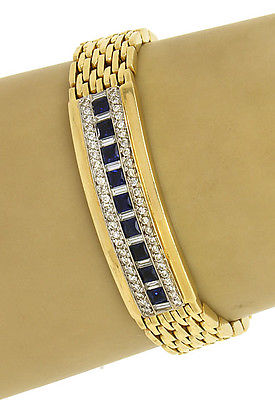 Estate Vintage 14k Yellow Gold 4.50ctw Diamonds & Blue Sapphire Fancy Bracelet