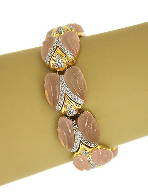 Stunning 1.00ct Diamonds & Frosted Pink Carved Bracelet in 18k YGold