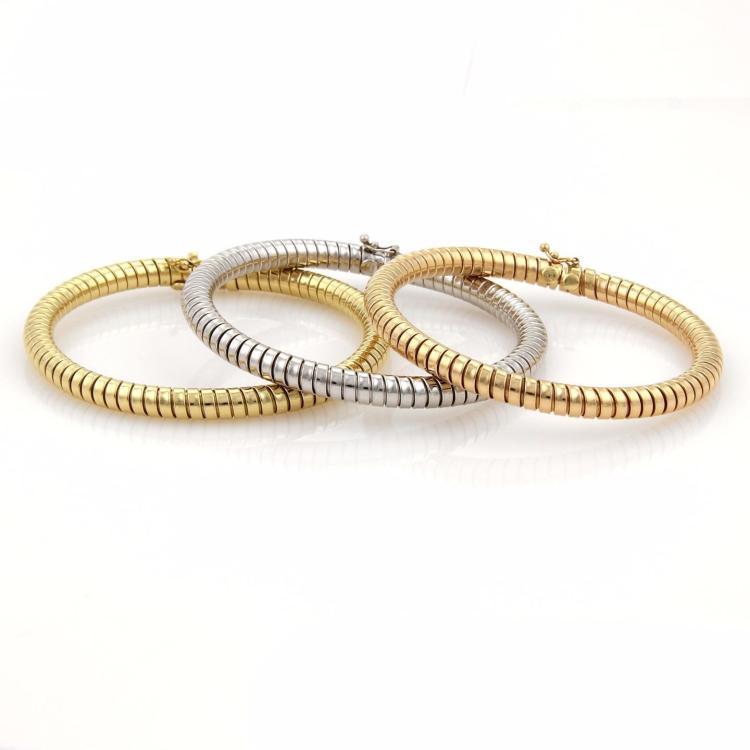 18k Tri-Color Gold Set of 3 Tubogas Snake Design 5.5mm Flex Bangle Bracelet 72gr