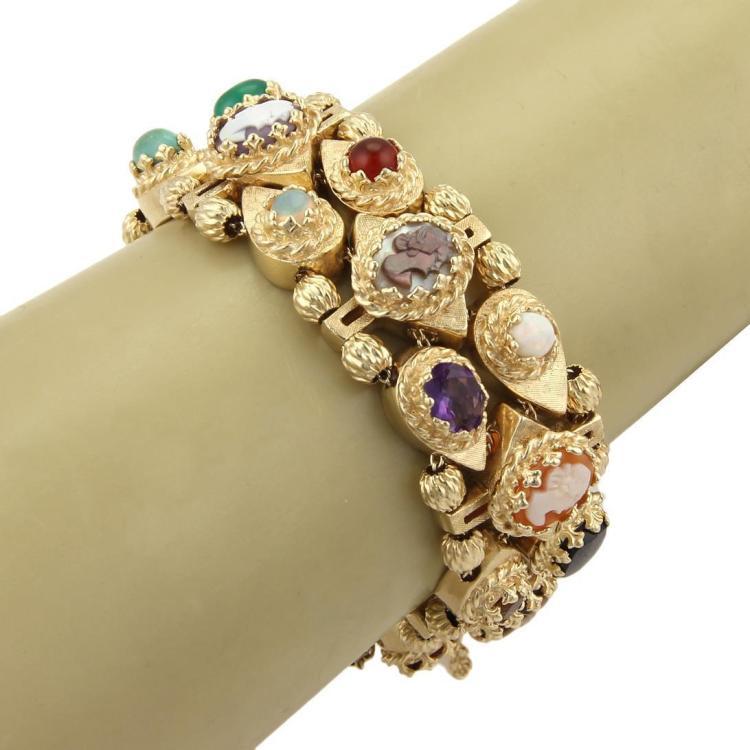 Estate 14k Yellow Gold Multi-Gemstones & Shell Cameo Slide Bracelet