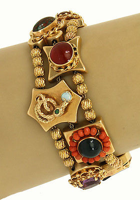 Vintage 14kt Yellow Gold Multi-Color Gemstones & Cameo 10 Charms Slide Bracelet